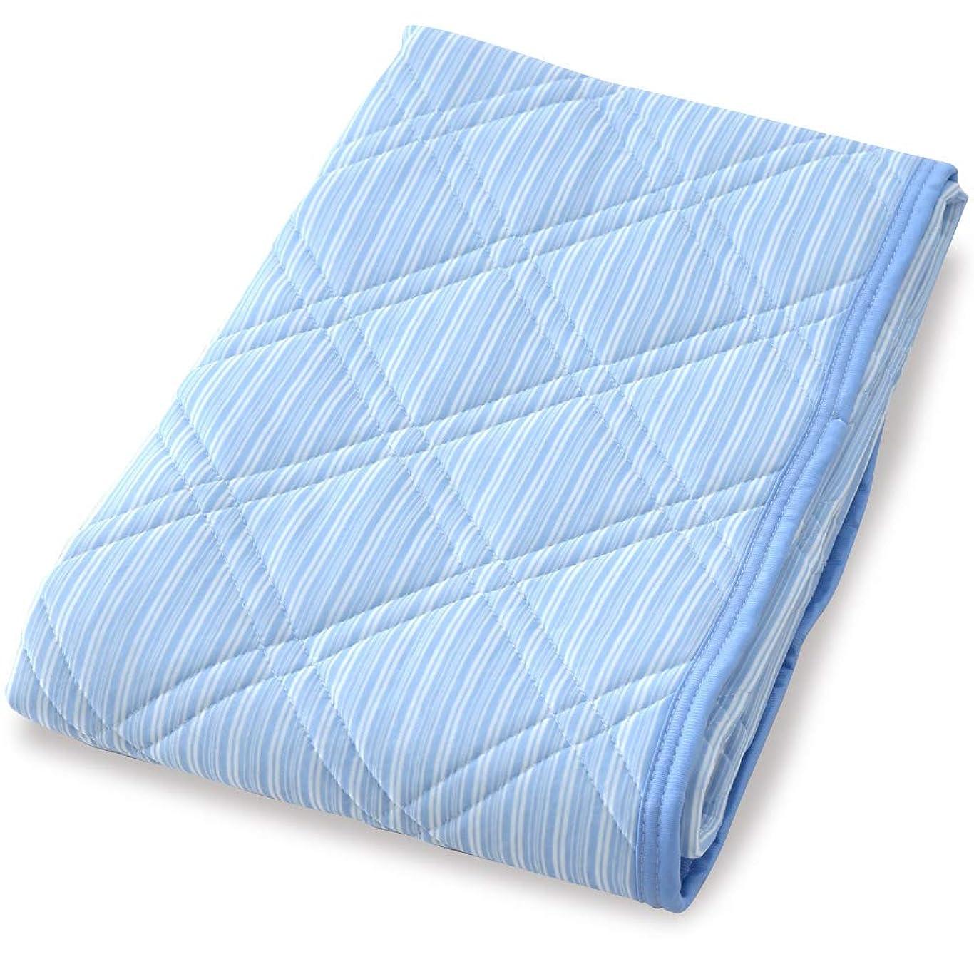 香りスカイスポーツの試合を担当している人寝具のドリーム 冷感 敷きパッド シングル 約100×205cm ひんやり 裏面メッシュ構造 通気性抜群 洗える (シングル, ネイビーブルー)