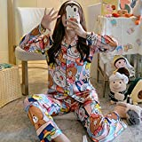 Conjunto de ropa de dormir, para mujer, otoño e invierno, delgada, dulce, suelta, pijamas, oso_M, conjunto de pijama para mujer sexy