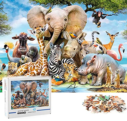 Oyunlar Jigsaw Puzzles 1000 Pieces for Adults-Animal World,1.8mm Thickness,Family Games Puzzles for Adult Kid (70x50cm)