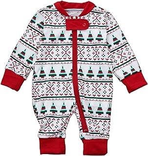 LvRao Matching Christmas pjs for Family Festive Xmas Pyjama Long Sleeve T-Shirt + Long Pants or One Piece Romper
