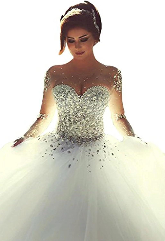 Holygift Women's Long Sleeves Beaded See Through Bridal Wedding Dresses for Bride