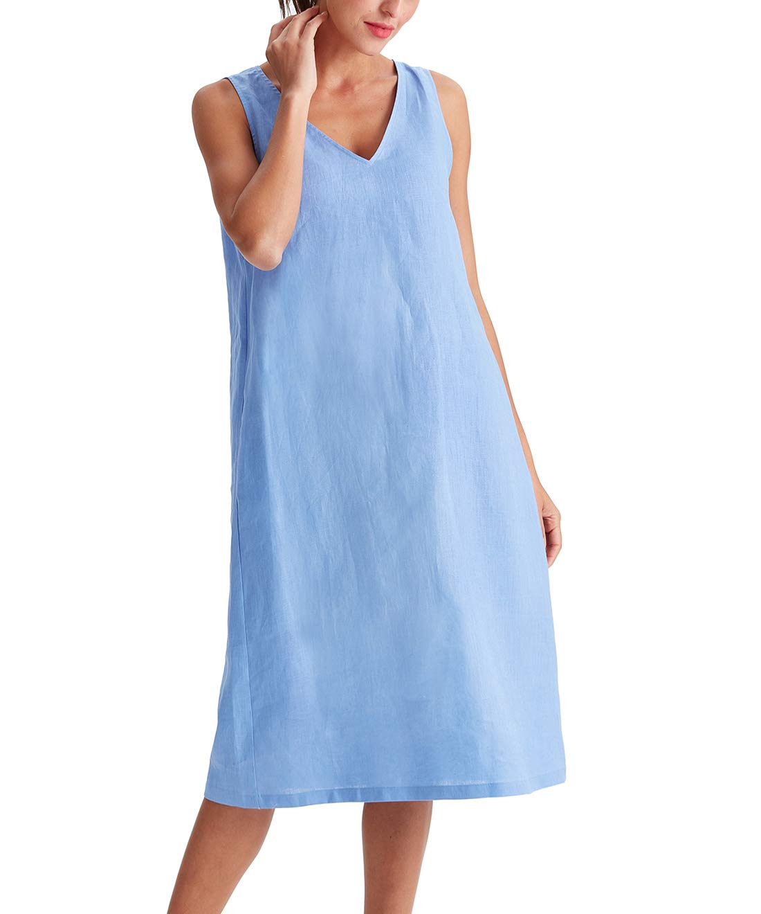 Available at Amazon: Amazhiyu Women's Linen Sleeveless V -Neck Midi Dresses with Pockets Solid Summer Casual Dress