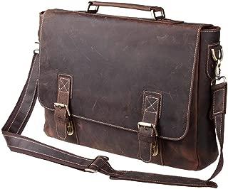 S-ZONE Vintage Leather Briefcase 15.6 Inch Laptop Messenger Shoulder Satchel Bag