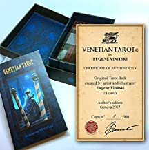 Venetian Tarot Cards Deck. Unique Handmade Illustrated Tarot. Occult Divination Cards for Tarot Reading Inspired by Beautiful History of Venetian Carnival Selling by Author Eugene Vinitski.