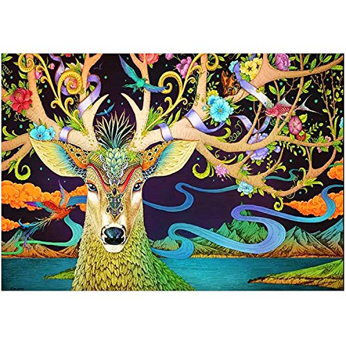 """Perkisboby Paint by Numbers for Adults Beginner, DIY Canvas Oil Painting Kit with Acrylic Pigment & 6 Brushes, 16"""" W x 20"""" L Art Elk"""