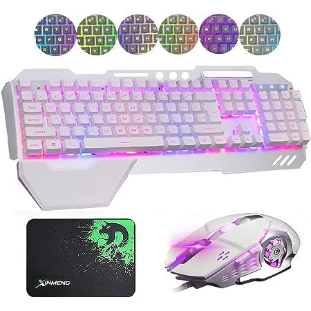 Hoopond combinación de Teclado y ratón con híbrido/RGB 16 Tipos de retroiluminación Teclado de Juego de USB Metal Blanco con Soporte para la Mano + ...