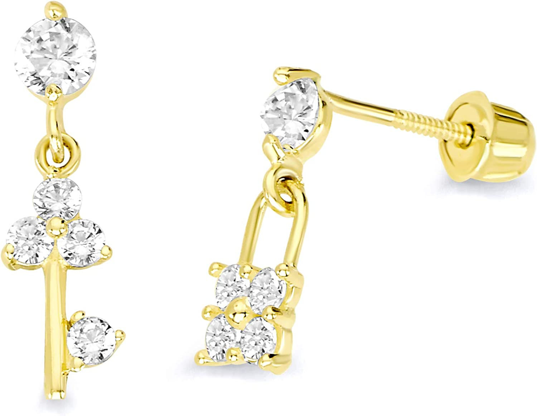 14k Yellow Gold Key & Lock Stud Earrings with Screw Back