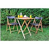Dawsons Living Wooden Bistro Set - Premium Quality Teak Weatherproof Garden Furniture Set - Folding Table and 2 Chairs - Decking Patio and Balcony Set (Grey)