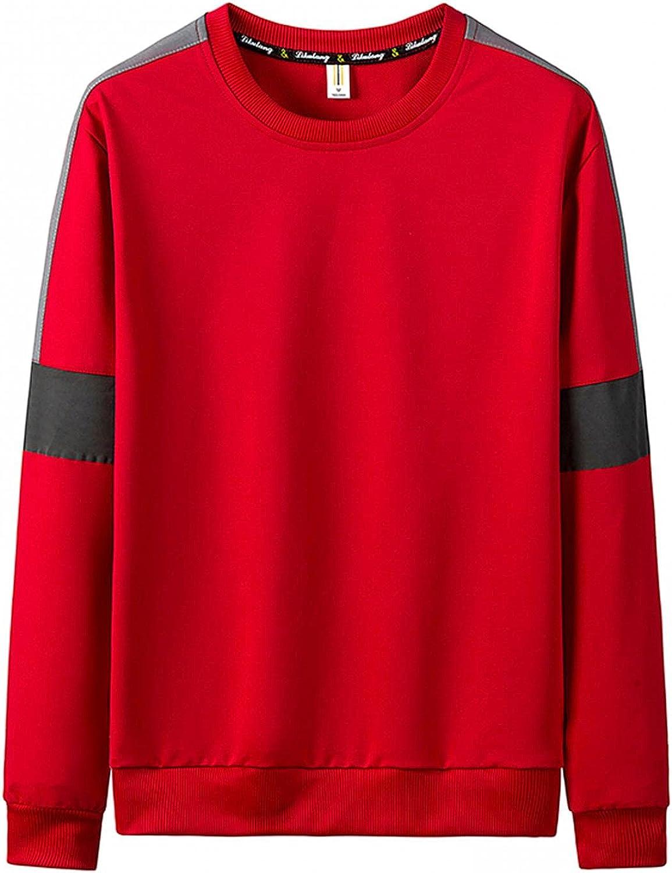 Men's Sweatshirts Crewneck Long-Sleeve Lightweight Regular Fit Novelty French Terry Pullover Men's Clothing Black White