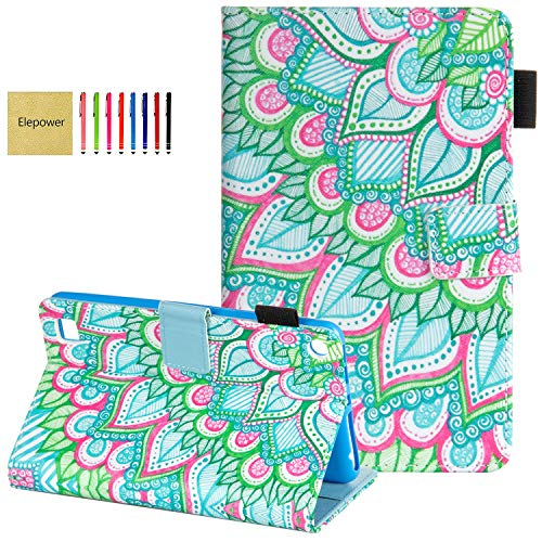 Elepower Case for All-New Fire 7 Tablet (9th/7th/5th Generation, 2019/2017/2015 Release), Slim Folio Stand Premium PU Leather Smart Cover with Auto Wake/Sleep for Amazon Fire 7 Tablet, Flower