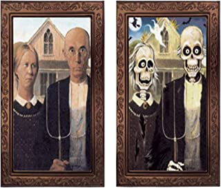 Elaine Room 3D Photo Frame Horror Ghost Lenticular Morphing Changing Moving Face Zombie Vampire Theme Halloween Party Home Wall Picture Haunted Spooky Black (B)