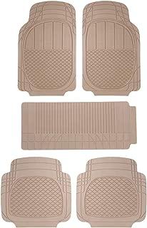 Sepia Universal Car Foot Mat (Set of 5, Beige)
