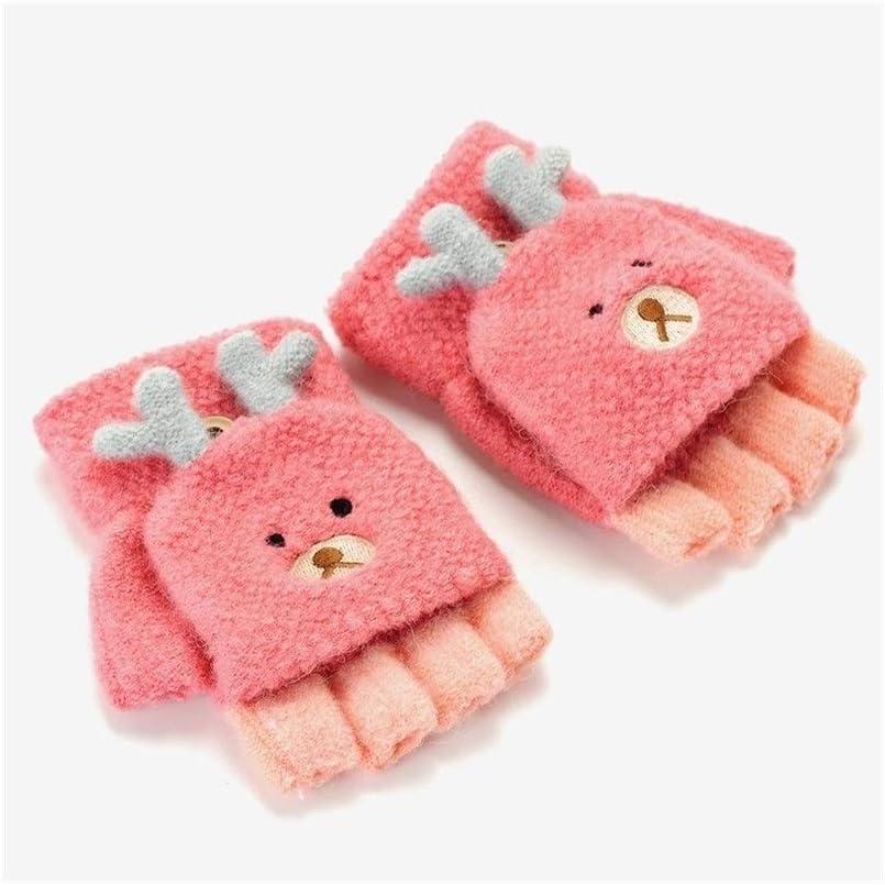 Winter Gloves Children's Gloves Half Finger Warm Winter Cold Winter Baby Gloves (Color : Orange, Size : 3-8 Years)