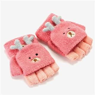 XinLin Du Children's Gloves Half Finger Warm Winter Cold Winter Baby Gloves (Color : Orange, Size : 3-8 Years)