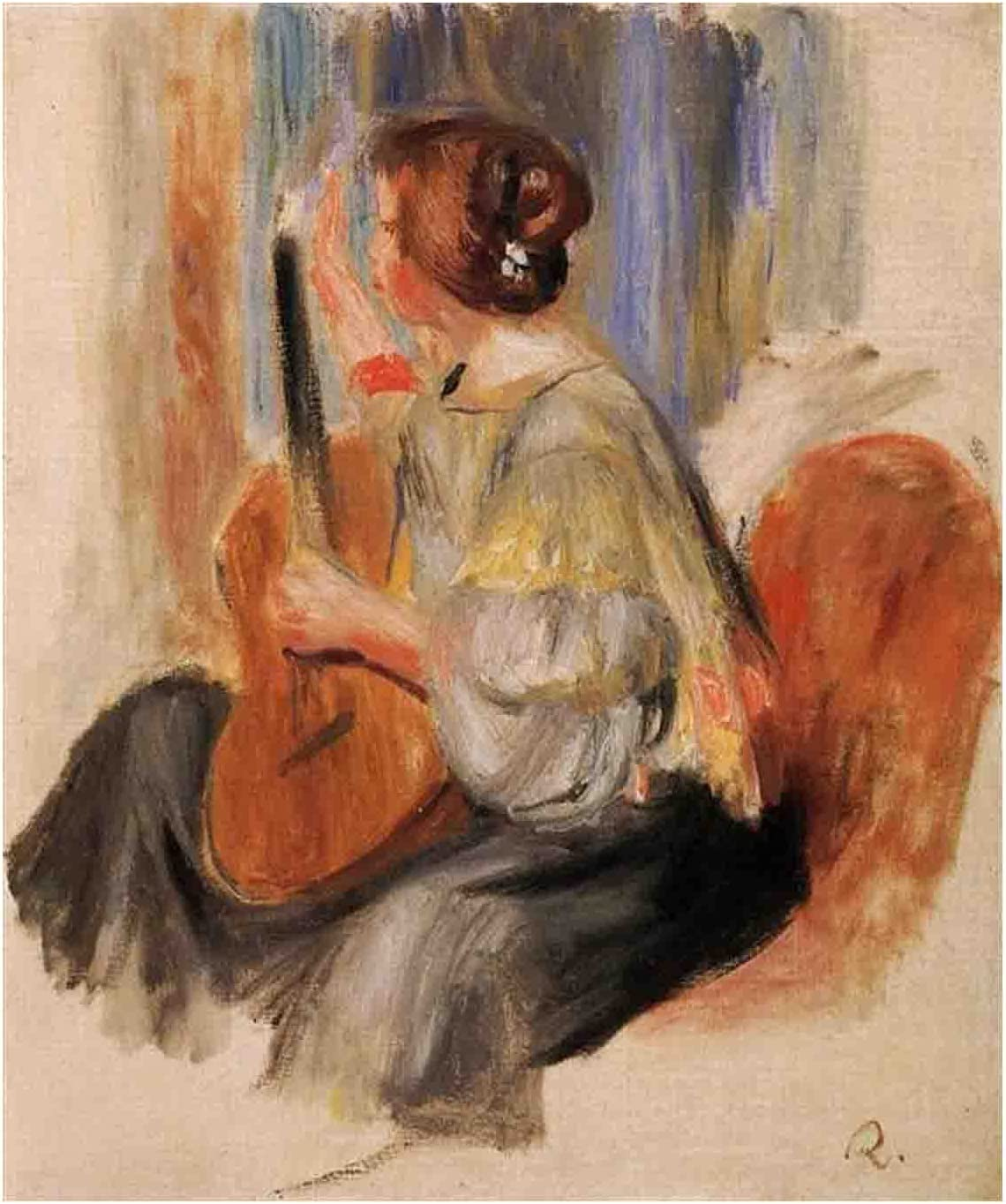 Woman with Import Guitar By Canvas Jacksonville Mall Pierre-Auguste Renoir Prints,Canva