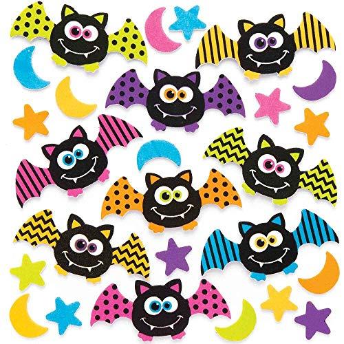 Baker Ross AR631 Fledermaus Moosgummi Sticker - 120 Stück, Bunte Schaumstoff Aufkleber für Kinder zum Basteln, Gestalten und Dekorieren