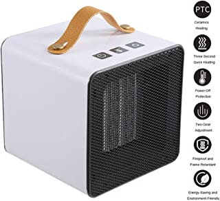 LYzpf Rápido Calentador de Ventilador Pequeña Mini Cerámica Aire Personal Portátil Calefactor Eléctrico Ajuste de 2 Modos para Habitación Oficina Baño