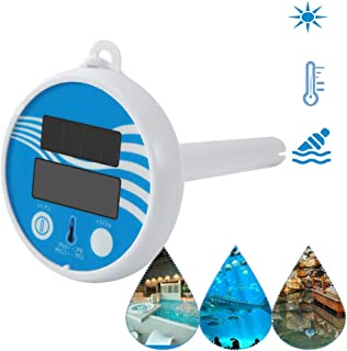 Gecheer Solar Powered Digital Thermometer Wireless Pond Pool Floating LCD Display Swimming Pool Thermometer Solar Thermome...