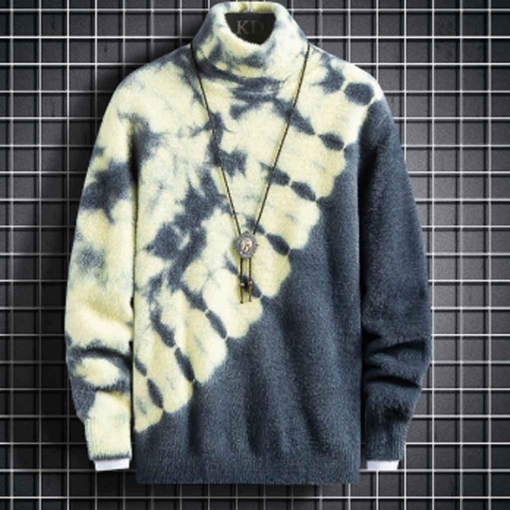 ZYING Turtleneck Sweater Men Clothing New Fall Winter Knitwear Thick Pullover Men Fashion High Neck Soft Warm Pull Homme (Color : L Code)