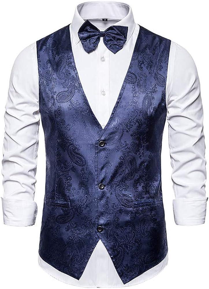 Mens Suit Vests V-Neck Paisley Dress Vest 3 Button Formal Waistcoat for Tuxedo
