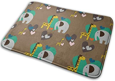 Giraffe Loves Elephant Carpet Non-Slip Welcome Front Doormat Entryway Carpet Washable Outdoor Indoor Mat Room Rug 15.7 X 23.6 inch