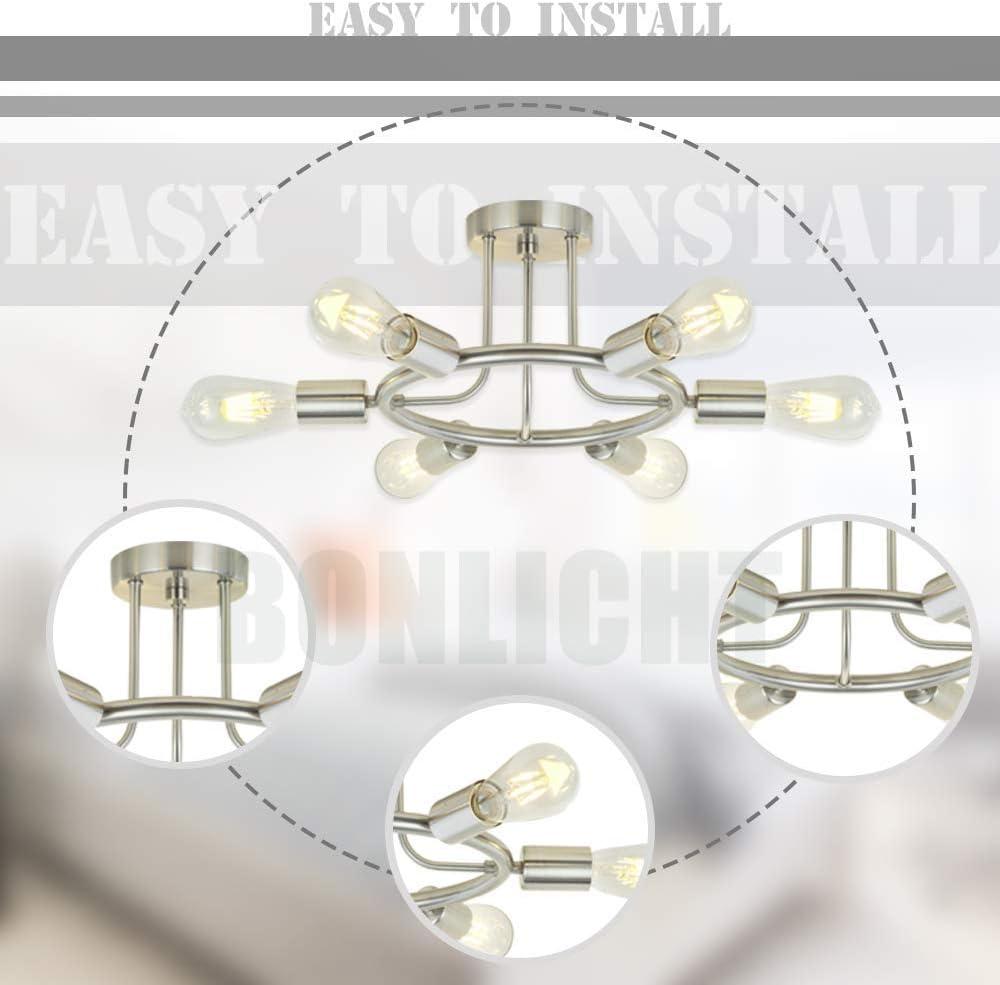 H.W.S Deckenlampe Vintage Metall Deckenleuchte, moderner Stil Kronleuchter 6 Licht Deckenbeleuchtung Deckenstrahler für Esszimmer Wohnzimmer Foyer kinderzimmer schlafzimmer bad (Schwarz) Nickel-a