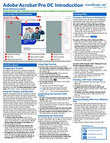 Adobe Acrobat Pro DC Introduction Quick Reference Training Tutorial Guide (Cheat Sheet of Instructions, Tips & Shortcuts - Laminated Card)