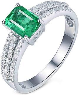 ButiRest - Anello in oro bianco 750, 18 carati con 4 denti taglio smeraldo 1 ct verde smeraldo VS e diamante 0,29 ct
