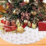 Aitsite Gonne per Alberi di Natale 122 cm /48 inch Bianco Gonna Albero con Ricamo d'oro Fi...