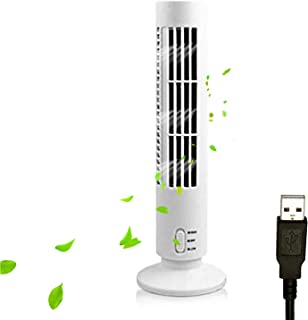 Qnotici Ventilador de Torre portátil Silencioso Ventilador eléctrico de 2 velocidades sin Cuchilla Ventilador de Torre Alimentado por USB Ventilador de Aire Acondicionado Vertical para Dormitorio