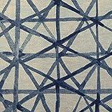 Stoff Meterware Baumwolle blau weiß Gitter Linien Retro