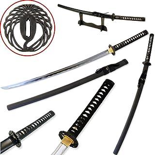 Vulcan Gear Traditional Handmade Sharp Katana Samurai Sword with Scabbard and Single Sword Wood Stand - Choose You Handle (Tsuba) Style