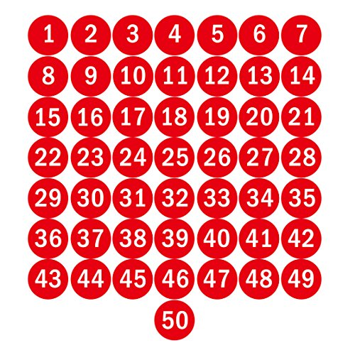 NAVAdeal 3' Red Round Number 1-50 Sticker Identify Symbol Inventory Storage Labels - - Great for Organizing, Perfect to Mark Bins or Toolbox for Daily Use in School, Office, Workshop
