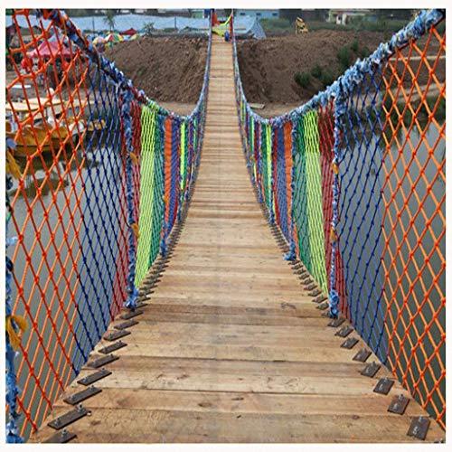 Red de cuerda de nailon colorida para niños, con 500 cinturones de sujeción, red de seguridad para balcón de escalera, red para techo, hamaca, red para cubrir el jardín, se puede cortar, v(Size:2×10m)