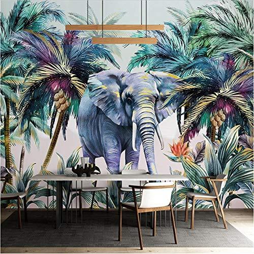 Newberli Foto Personalizada Planta Tropical Árbol De Coco Elefante Acuarela Pared Pintura 3D Sala De Estar Comedor Pared Panel Mural Papel Tapiz