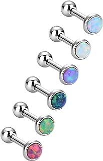 6 Pezzi Opale Orecchini a Bottone in Acciaio Inossidabile Piercing a Barretta Gioielli del Corpo per Trago Cartilagine, 6 ...