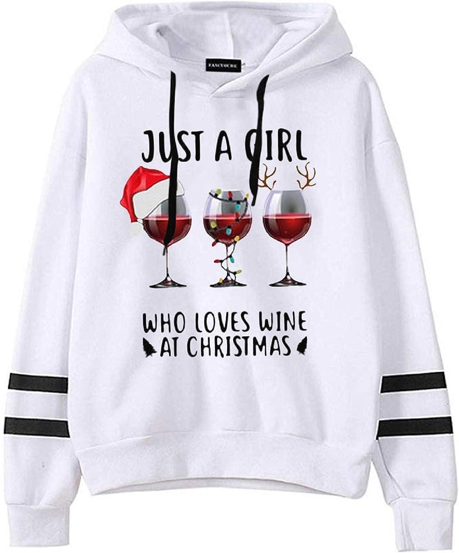 Christmas Hooded Sweatshirt Hoodie Drawstring Sweater Casual Long Sleeve Pullover Tops for Women
