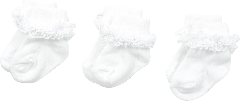 Jefferies Socks Baby Girls' Double Row Lace 3 Pair Pack Socks