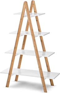 House of Living Art A-Frame Bookcase | 4-Tier, Natural Bamboo and MDF Shelving | Modern Essence Collection