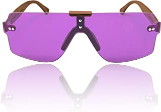 The Gambler Rimless One Piece Sunglasses for Men and Women with Walnut Wood Arms