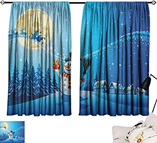 Josepsh Christmas Decor Darkening Curtains Snowy Landscape Pines Houses Starry Sky Full Moon and Santa with Present Curtain for Kitchen Window Blue Eggshell White W108 x L72