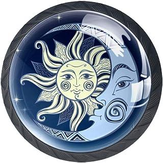 Moon and The Sun - Juego de 4 pomos para armario de cocina tiradores redondos para cajón y aparador