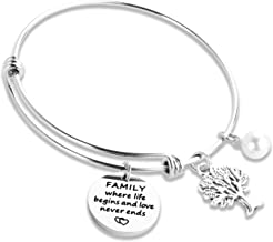 Kivosliviz Family Jewelry Bracelet Family Charm Bracelets Engraved Family Where Life Begins and Love Never Ends Bangle