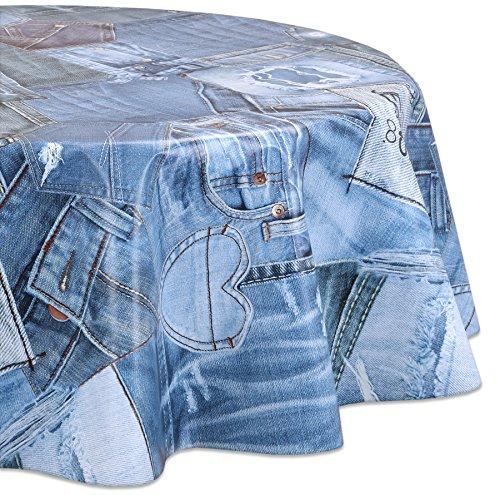 Wachstuchtischdecke OVAL RUND ECKIG Motiv u. Größe wählbar, Tischdecke abwischbar (Eckig 140x120 cm Blue Jeans)