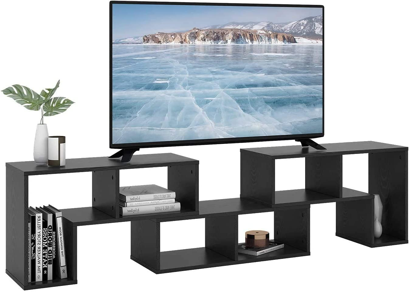 DEVAISE 3 Pieces TV Console Stand, Modern Entertainment Center Media Stand, TV Table Storage Bookcase Shelf for Living Room, Black