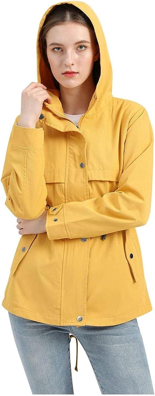 Women's Solid Color Rain Waterproof with Removable Hoodies Casual Lightweight Windbreaker Outdoor Walking Coat