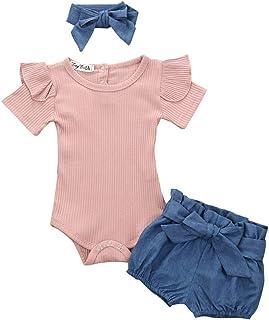 Soolike Conjunto de 3 Piezas Ropa Bebe Niña Verano Recién Nacido 0 a 24 Meses Monos con Volantes + Florales Pantalones Cor...