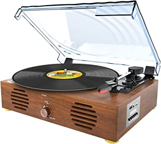 Record Player-13 in 1 Turntable with Speakers Vinyl Recording LP Bluetooth USB TF Card FM Radio Aux Input RCA Line Out and Headphone Jack
