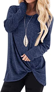 KANGMOON Women`s Comfy Long Sleeve Round Neck Tops Side Twist Knotted Loose Blouse Tunic Casual T Shirts Sweatshirts S-XXL