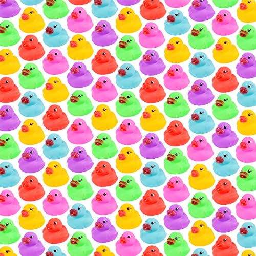 86-Pack Mini Bath Ducks Set, Mini Colorful Rubber Duckies Bath Toy for Child, Float & Squeak Tiny Ducks Pool Toy Set for Kids Party Favors,Birthday Party Supplies,Prize Rewards